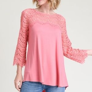 NWT JODIFL BERRY BLOUSE WITH LACE YOKE AND SLEEVES